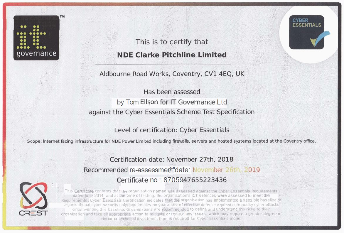 NDE's Cyber Essentials Certificate image
