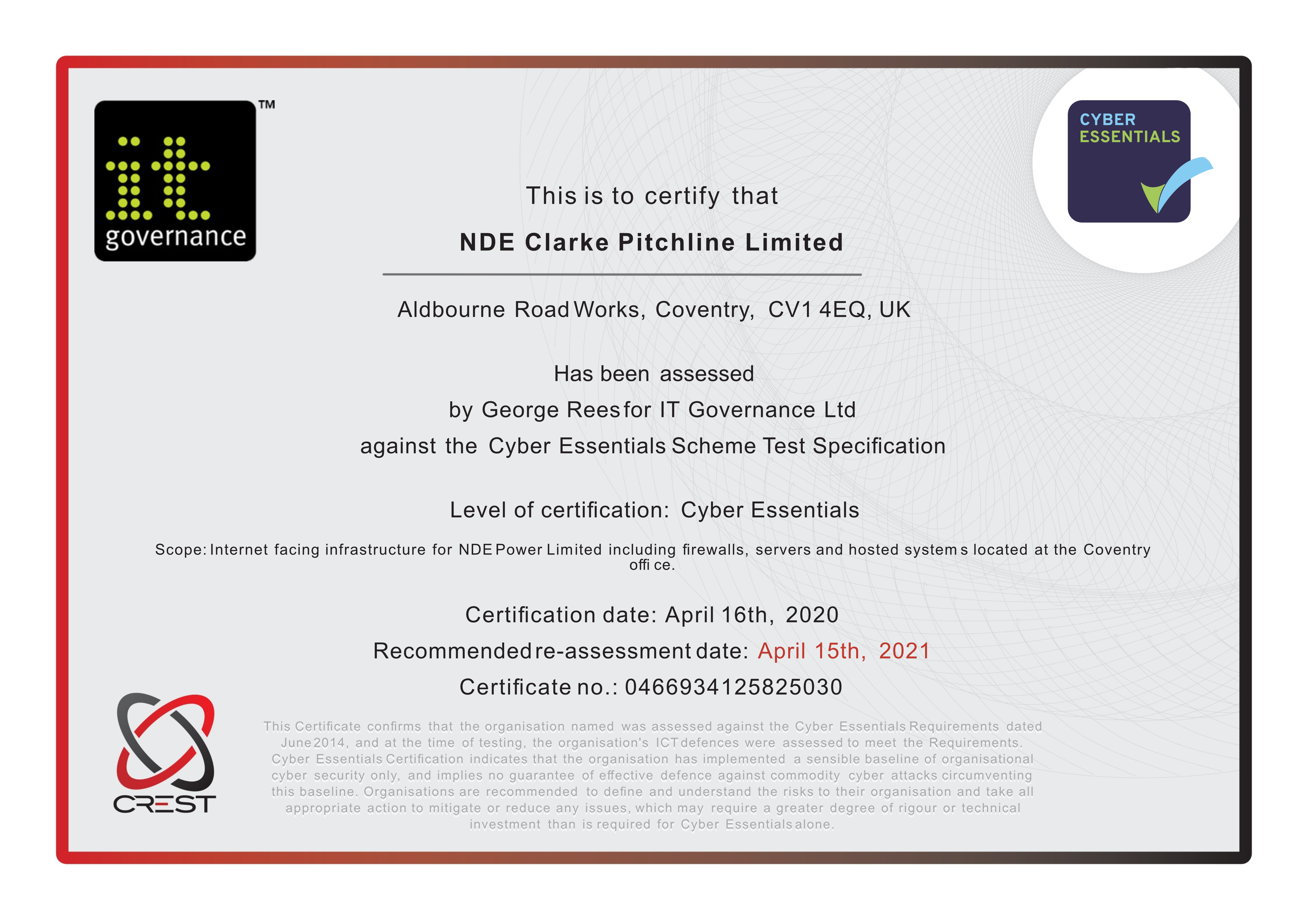 NDE's Cyber Essentials Certificate image